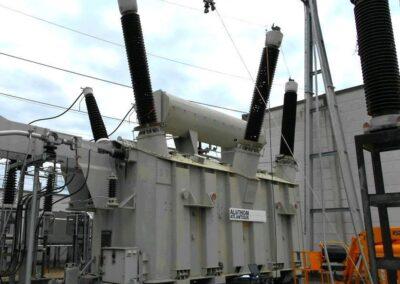 Expertise et Essais électriques en urgence sur un AT 600MVA 400/225kV Mesures des Capacités et Tangentes Delta des traversées Mesures micro-Ohmiques